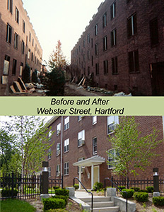 Before and after of the Webster Street Mutual Housing Complex in Hartford, Conn.